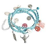 Kiss Me! Ibiza Hippie Damen Wickel Armband Türkis Anhänger Muscheln Perlen Peace Schädel Verschiedene Farben Länge: 19cm + 5cm