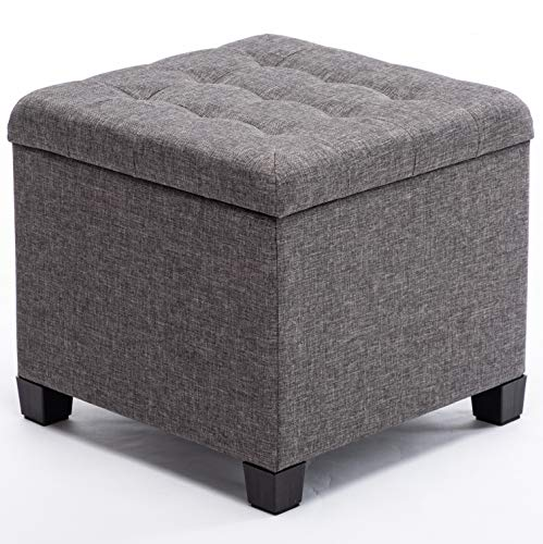 HNNHOME Sitzhocker mit Stauraum, Sitzwürfel mit Deckel, Sitztruhe, Fußbank Truhen Aufbewahrungsbox, Leinen, 44 L, 45 x 41 x 41 cm, Anthrazit