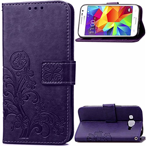 Galaxy Core Prime Funda, SATURCASE Lucky Clover Cuero De La PU Magnético Capirotazo Billetera Apoyo Bumper Protector Funda Carcasa Case para Samsung Galaxy Core Prime SM-G360F Púrpura
