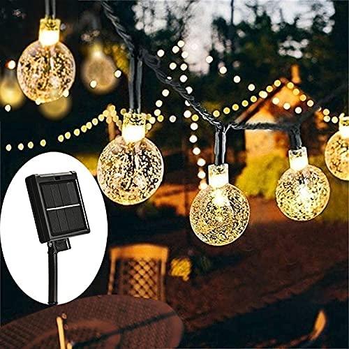 8 modos de luz solar bola de cristal 5M/7M/12M/LED cadena de luces de hadas guirnaldas para fiesta de Navidad decoración al aire libre Día de la Madre (color: A, tamaño: 8 m, 40 LED) SKYJIE