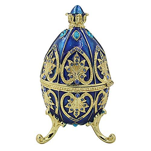 MICG - Joyero esmaltado con Forma de Huevo Pintado a Mano con Cristales Decorativos con bisagras, colección Alexander Palace, colección Nevsky Romanov, Coleccionable