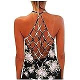 Zzbeans Camiseta de tirantes básica para mujer, con estampado de girasol, cuello redondo, sin mangas Gold_C XL