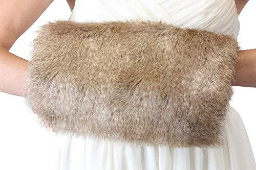 ShineGown - Manicotto invernale da donna, in pelliccia sintetica, per matrimonio albicocca Taglia unica