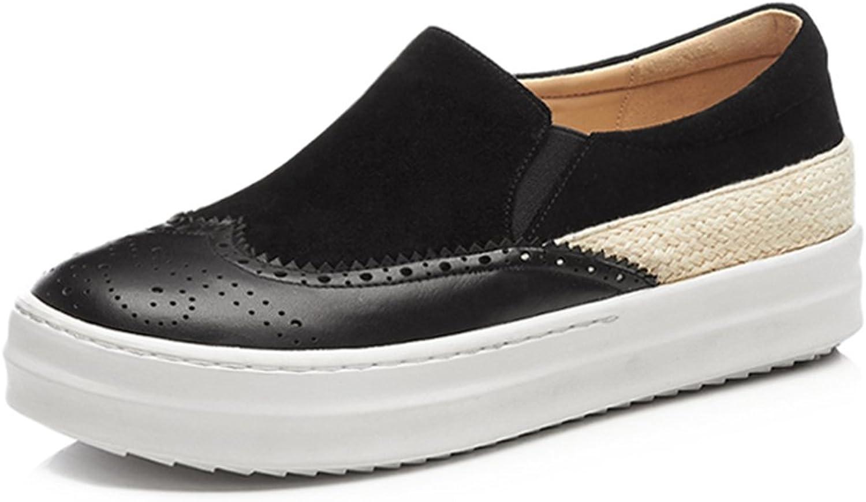A-BUYBEA Women's Flat Platform Semi-Brogue shoes Vintage Dress Loafer shoes 4.5-8 Pink Black