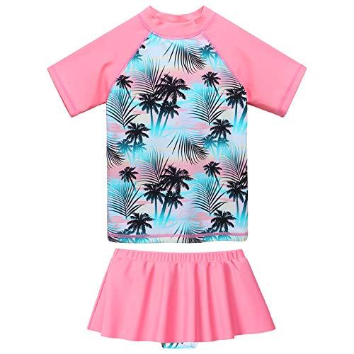 ZNYUNE Bañador de dos piezas para niña, estampado de tela, mangas cortas y falda, traje de baño Coco Rosa 3-4 Años