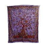 Tagesdecke Lebensbaum lila Bunte Vögel Blumen indische Decke Baumwolle Tie Dye Style