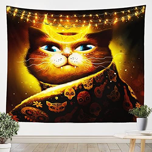 Homemissing Tapiz para colgar en la pared para colgar en la pared, diseño de calavera de gato, ideal para dormitorio, sala de estar, color amarillo, dorado, mediano 128 x 152 cm