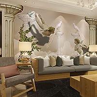 カスタム写真の壁紙3D壁画ヨーロピアンスタイル天国の小さな天使背景壁エンボス壁画3d壁紙,200(W)*140(H)cm