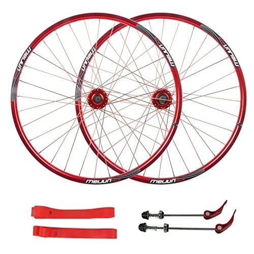 LICHUXIN Oksmsa MTB Freno Disco Juego De Ruedas 26 Pulgadas Bicicleta Delantera Trasero Rueda Pared Doble Aleación Aluminio 7/8/9/10 Velocidad Casete Liberación Rápida (Color : Red, Size : 26inch)