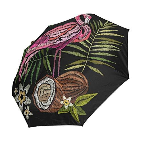 Emoya Regenschirm, Winddicht, kompakt, Stickerei, Flamingo, Tropische Palmenblätter, Blumen, Ananas, Kokosnüsse, automatisches Öffnen und Schließen