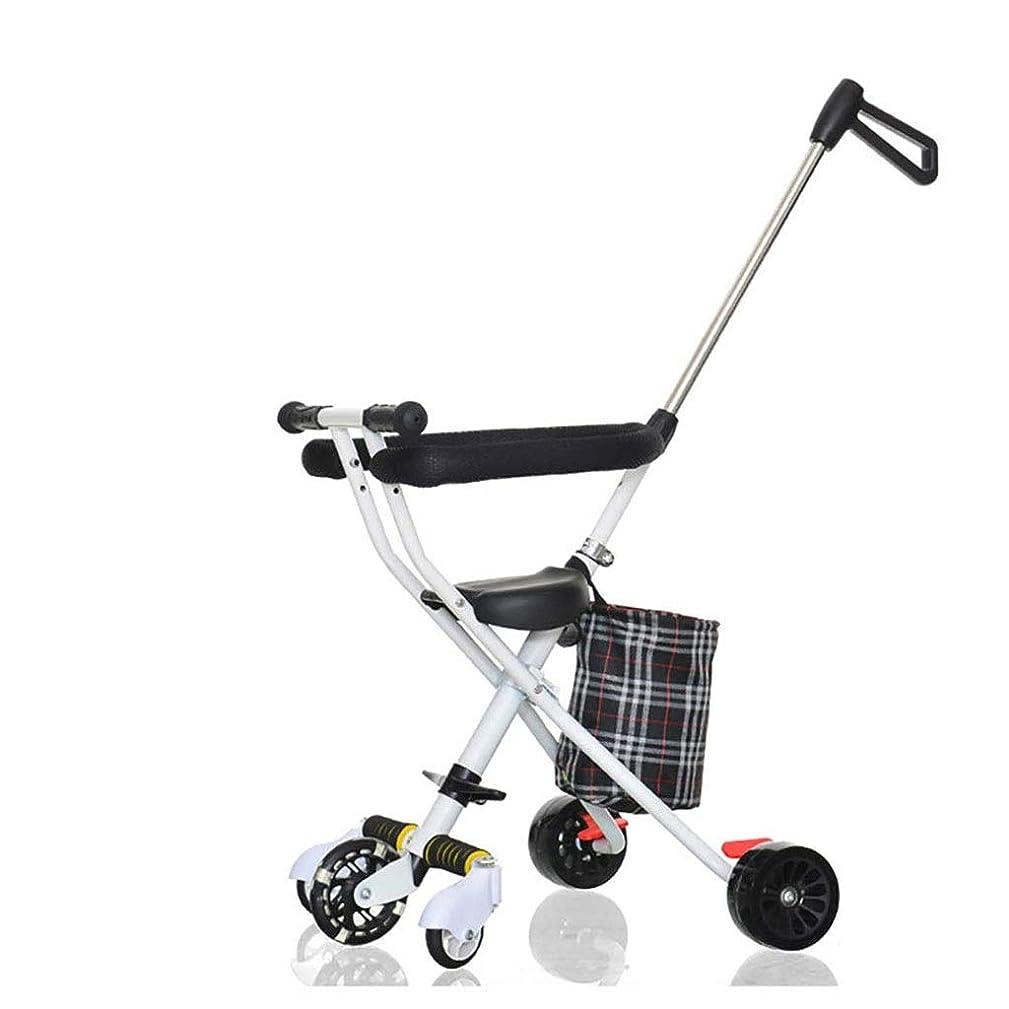 リフレッシュペット計器軽量のベビーカーの子供の三輪車の携帯用折り畳み式のロールオーバー防止のベビーカー (Color : White)