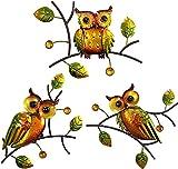 LUOWAN Garten Eule Wanddekoration, Hängende Wandkunst Im Freien Metall Eule Außenwand Kunst Dekor, Für Gartenzaun, Wohnzimmer, Esszimmer 3Pc
