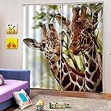 WAFJJ Cortinas Animales y Jirafas 3D realistas del diseño,Sala de Estar Dormitorio Cortinas Ventana Set de Dos Paños