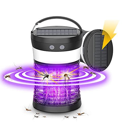 Lámpara Antimosquitos Eléctrico, Linterna de Camping Recargable 3 en 1 con luz de Emergencia SOS, Antimosquitos Eléctrico Resistente al Agua, Atrapa Insectos y Moscas para Interiores y Exteriores