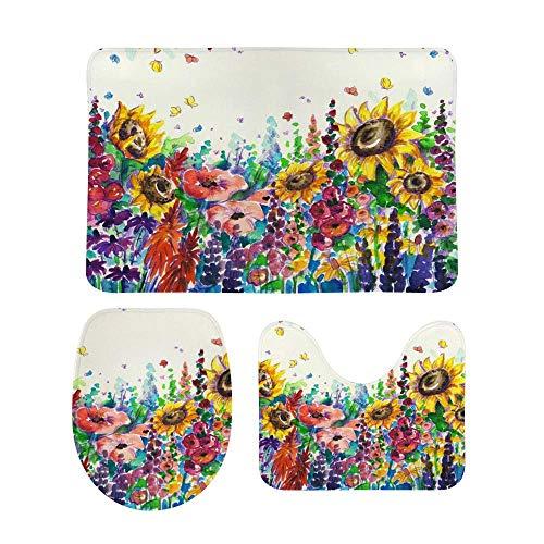 Juego de alfombras de baño RedBeans antideslizantes de 3 piezas de franela para baño, diseño de flores de verano en el jardín con pedestal suave, antideslizante, alfombrilla de ducha para inodoro