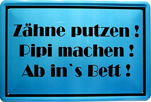 Metalen bord spreuk tanden poetsen. 20 x 30 cm reclame retro blik 1143