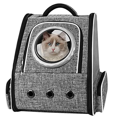 PENCCOR Haustier Hunde Katzen Rucksack Raumkapsel, Tragbar Transportrucksack Transporttasche für Haustiere Reisen Atmungsaktive Rucksack für große Katzen Kleine Hunde (Grau「Vorhänge」)