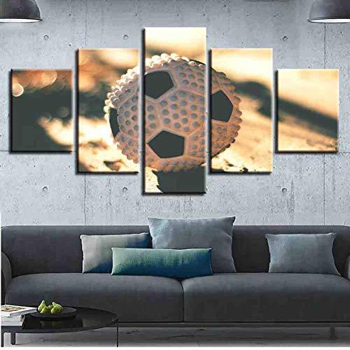 GIAOGE Modulare Plakatrahmen Leinwand Bilder Dekoration 5 Stück Sport Fußball Hd Gedruckt Für Wohnzimmer Wandkunst Moderne Malerei