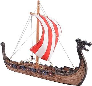 LOVIVER Viking Dragon Longship Model Statue with Base Stand Vessel Battle Ship Prototype Sculpture Figurine - 25.5x5.5x17.5cm