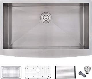 WMXQX 33-inch Farmhouse Kitchen Sink 16 Gauge Deep Undermout Single Bowl Apron Front Kitchen Sink, Stainless Steel