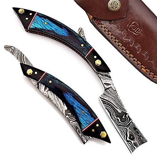 Hand Made Damascus Steel Straight Razor Folding Razor With Shaving Ready Classic Barber Blade Edge, Men Straight Razor, Leather Case + Strop, Close Shave, Great Gift R-27