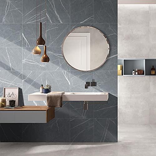 Swinno 20 pegatinas para azulejos de mármol, color gris, gruesas, impermeables, para el suelo, para baño, cocina, dormitorio, azulejos (30 x 30 cm)