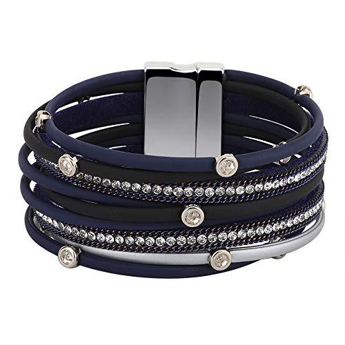 Emibele Pulsera de Cuero en Capas, Pulsera de Múltiples Capas de Estilo Bohemio con Diamante Idea Regalo para Niñas y Mujeres - Tinta Azul