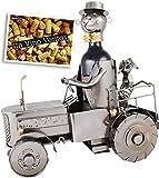 Brubaker Weinflaschenhalter Traktor mit Fahrer und Hund - Deko Objekt Trecker Schlepper aus Metall - Flaschenständer mit Grußkarte für Weingeschenk