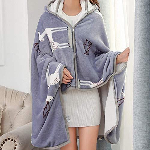 Franela manta perezosa oficina con aire acondicionado chal calidez estudiantil engrosamiento siesta sola manta doble poncho manto 150cmx130cm (alargado con gorro)