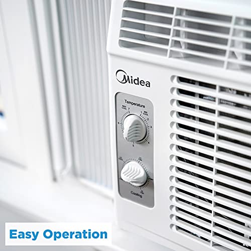 MIDEA 5,000 BTU EasyCool Window Air Conditioner and Fan - Cools Up To 150 Square Feet with Easy To Use Mechanical Controls And A Reusable Filter, 5000, White