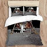 CIKYOWAY Bedding Juego de Funda de Edredón,Aterrizaje Lunar Apolo 11 Zumbido Aldrin Luna Lunar Luna Antideslizante,Microfibra Funda de Nórdico y Fundas de Almohada - (Soltero 140 x 200cm)