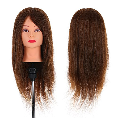 "Anself 24"" 100% Veri Capelli Umani Parrucchieri Formazione Testa Salon Hairdressing Pratica Strumento (1)"