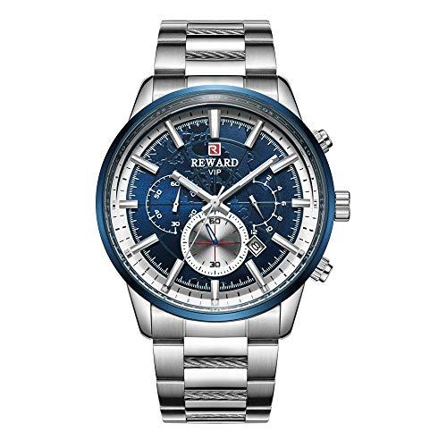 Relojes para Hombre Cronógrafo de Acero Inoxidable 30M Reloj Deportivo de Moda a Prueba de Agua Cronógrafo de Cuero para Hombre -A