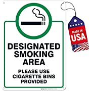 Designated Smoking Area Sign, Use Cigarette Bins Sign, 10x14 Rust Free Aluminum, Weather/Fade Resistant, Easy Mounting, Indoor/Outdoor Use, Made in USA by SIGO SIGNS
