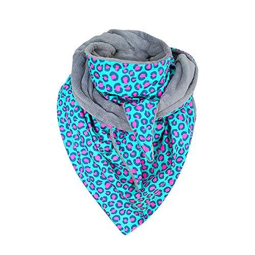 Damen Dreieckstuch Intern Fleece Kaschmir Schals, Retro Leopard Drucke Hals-Tuch Winter Warm Lätzchen Mehrzweck-Schal