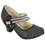 MyShoeStore - Zapatos de boda para niña, con diamantes de imitación, estilo Mary Jane, de tacón bajo, color plateado, talla 285 EU Niño