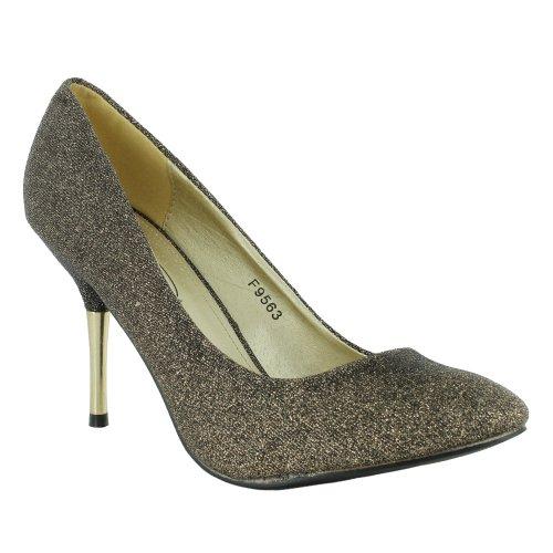 Footwear Sensation, Sandali donna, Nero (Nero/Oro), 37.5