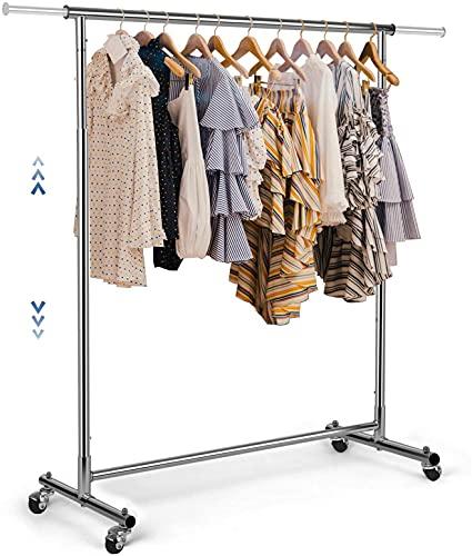 Kleiderständer, Verstellbarer Garderobenständer auf Rollen, 170 cm, Tragkraft 95 kg, Stabil und Langlebig, Schlafzimmer, Metall Verchromt