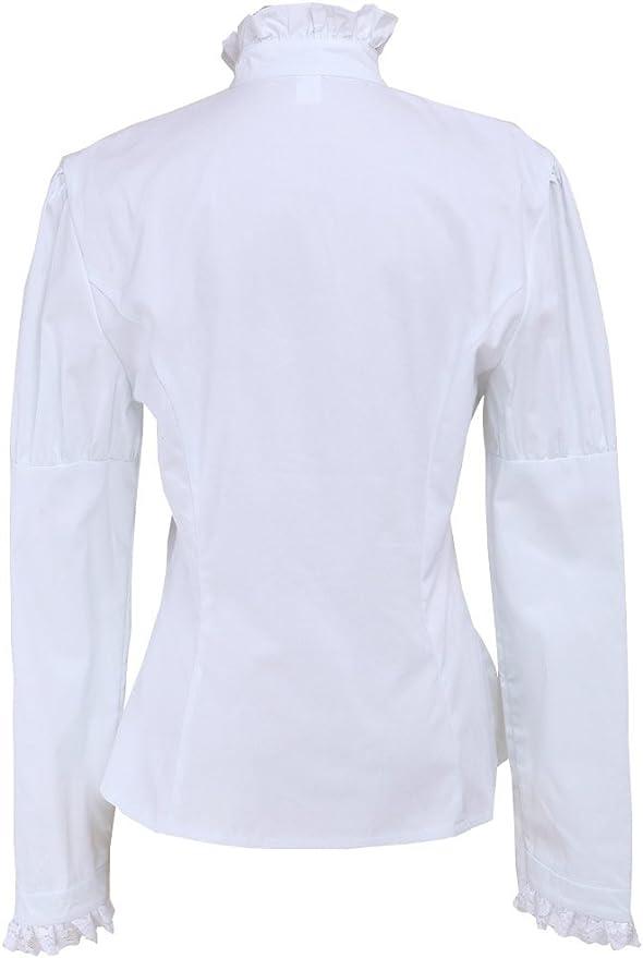 Blanca Algodón Encaje Volantes Stand-up Collar Victoriana Lolita Camisa Blusa de Mujer