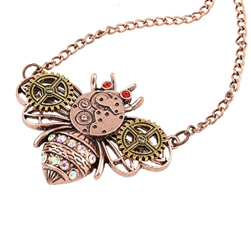 Vintage Statement Necklace Steampunk Gear Bee Design Pendant Chain Necklace for Women Men Boy Girl A Great Accessory with Personality Both for Your Friends and Yourself Material: Alloy