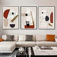 北欧のシンプルな抽象的な幾何学的な図線画キャンバス絵画ポーチ壁画ポスタープリントピクチャーウォール装飾絵画30x45cmx3フレームレス