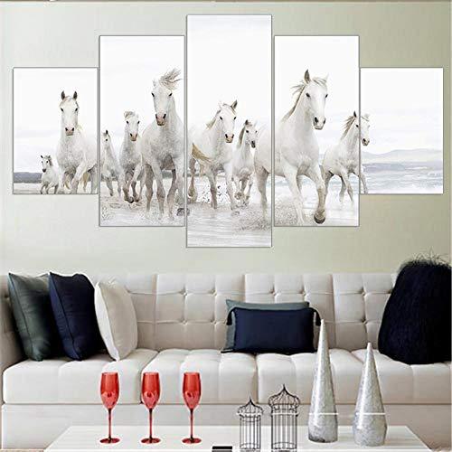 WGBHQ 150 x 100 cm vijf modules, decoratieve schilderijen meer paarden, dieren, 5 blok, creatieve canvas, combinatie, muur, foto, huis, decoratie, wand, papier, plakfolie, M