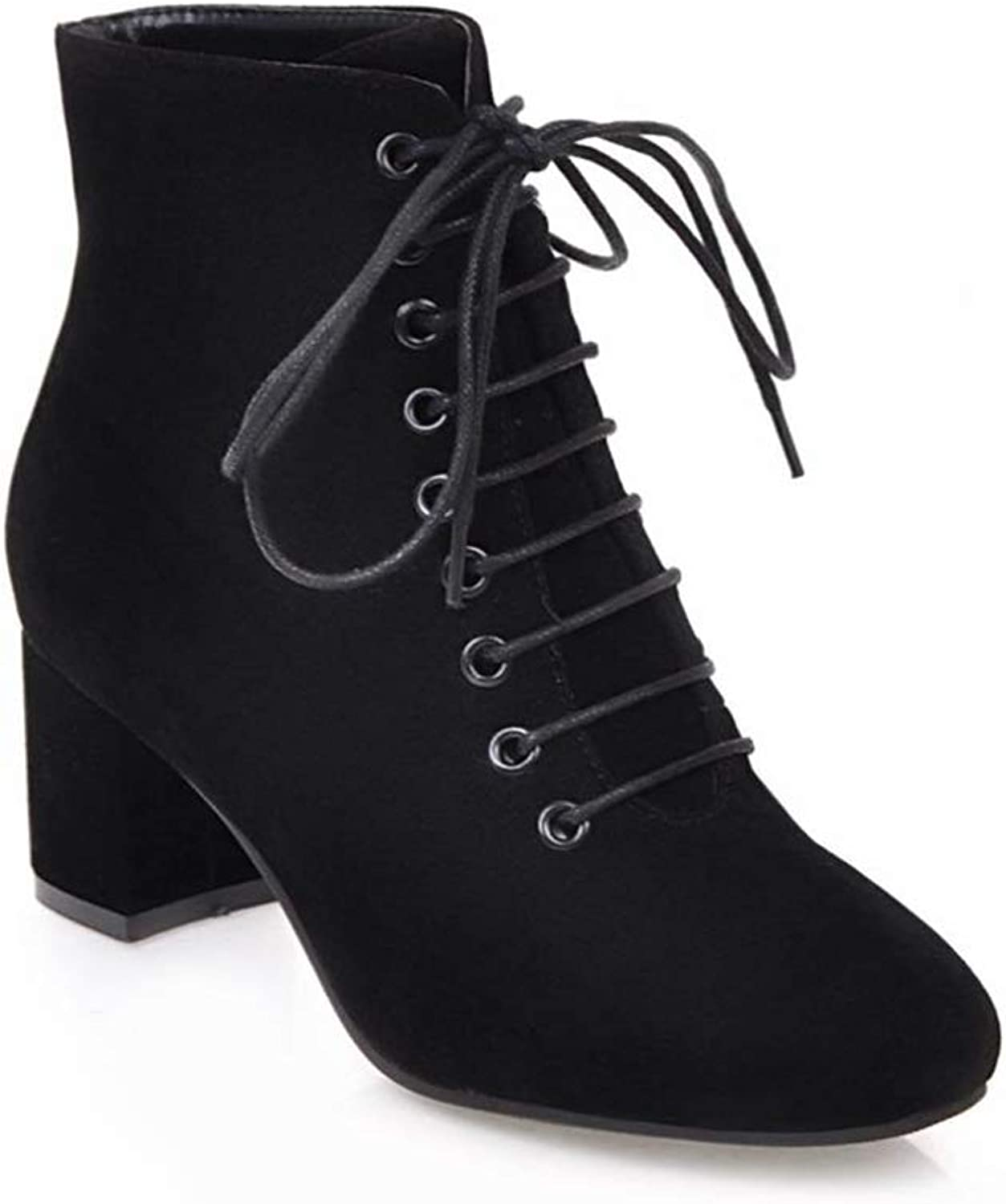 Woman Ankle Boots Lace Up Mid Square Heel Round Toe Ladies Sexy Fashion Casual Party Office Short Boots