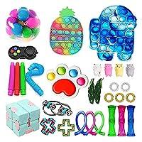 ストレスリリーフフィジットのおもちゃパック、フィジットのおもちゃセット安い、感覚のフィジットのおもちゃパックプッシュポップバブルシンプルなディンプル、プッシュポップバブル感覚玩具 (Color : F-fidget Pack)