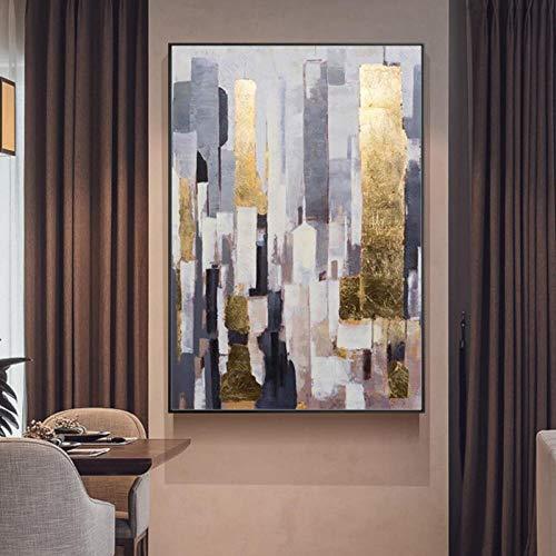 Modern Abstract Schilderij Gouden folie Licht Luxe Woonkamer Villa Model Kamer Enorme Verticale Geschilderde Decoratieve Schilderijen 60x90cm Geen Frame
