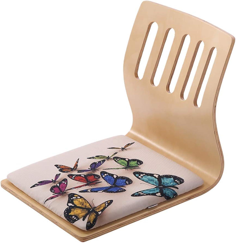 Japanischer Beinloser Stuhl, Boden-Stuhl, Fester Hlzerner Rückenlehnen-Stuhl, Fauler Stuhl, Für Uhr Fernseh-   Spiel-Sitz-Kissen Entfernbar