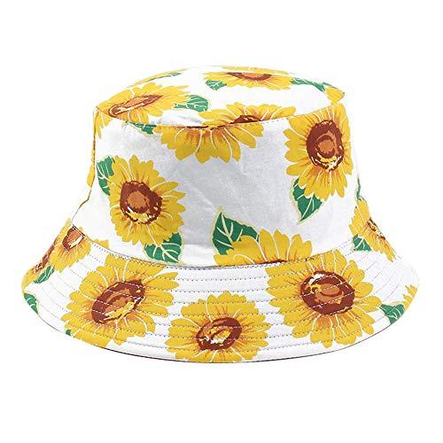 Umeepar Fischerhut Sonnenhut 2 in 1 Reversible Sommerhut Hut for Damen Herren (Sonnenblumen Weiß)