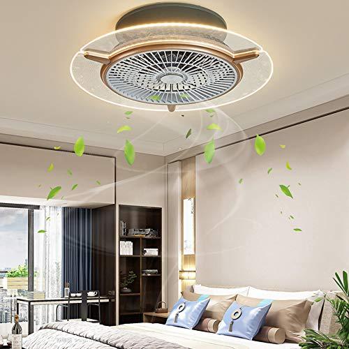 Fan Deckenlampe Dimmbar Deckenventilator Fan Licht Mit Beleuchtung Und Fernbedienung LED Runde Fan Kreative Deckenleuchte Modern Ventilatorlicht Pendelleuchte Für Wohnzimmer Esszimmer Schlafzimmer