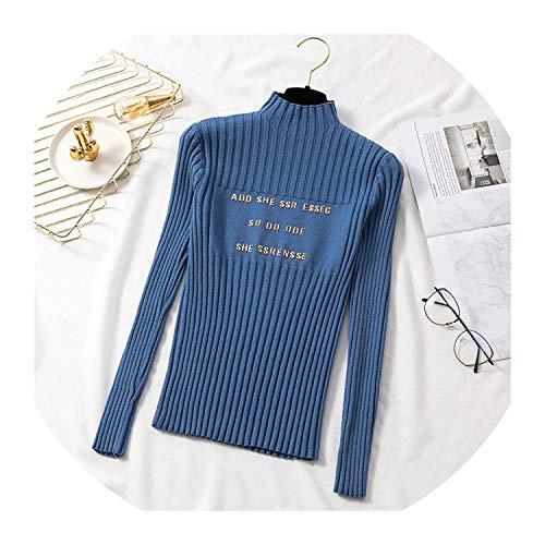 Suéteres de mujer con impresión de letras, media elasticidad, para mujer, sueltos de punto, casual, cálido, azul, talla única