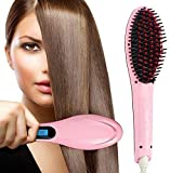 QENIOS Hair Electric Comb Brush 3 in 1 Ceramic Fast Hair Straightener For Women's Hair Straightening Brush with LCD Screen, Temperature Control Display,Hair Straightener For Women (PINK)